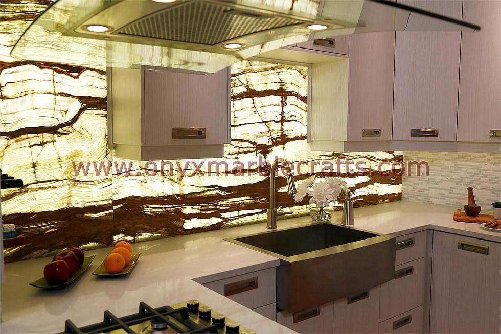Backlit Onyx Countertops Ideas Kitchen Design White