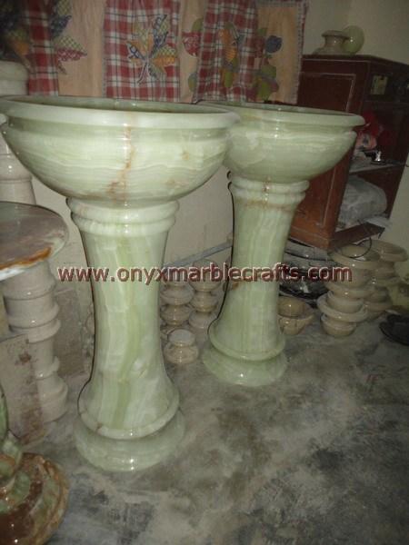 Onyx Pedestals Sinks Basins Green Onyx Handcarved Bathroom